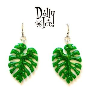 Tropical Monstera Leaf Earrings by Dolly Ice!
